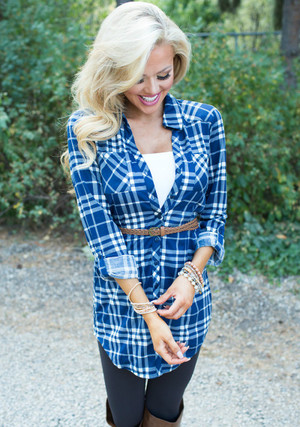 Today's The Day Blue Plaid Tunic CLEARANCE