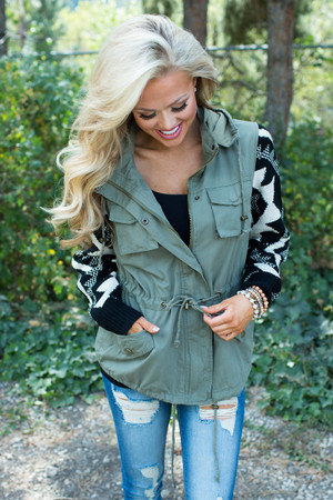 My Favorite Aztec Olive Hooded Cinched Military Jacket