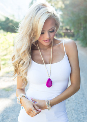 My Favorite Stone Beaded Necklace Pink/Ivory