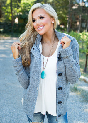 Girl Next Door Hooded Knit Sweater Gray CLEARANCE