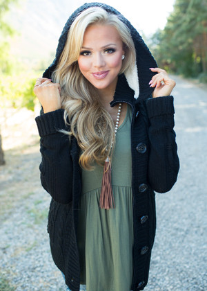 Girl Next Door Hooded Knit Sweater Black