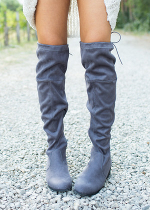 Been Around the Block Over the Knee Boots Dark Gray