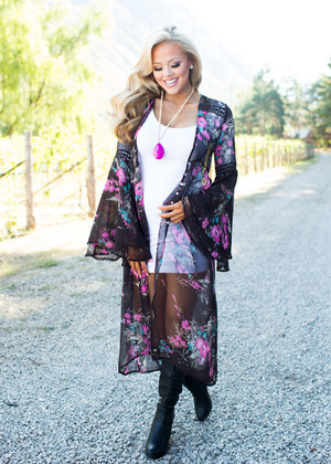 The Most Extravagant Floral Long Sheer Kimono Dark Brown CLEARANCE