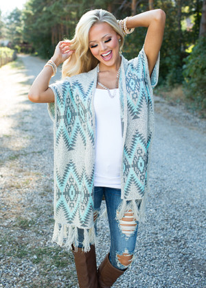 Happy For You Aztec Vest Blue CLEARANCE