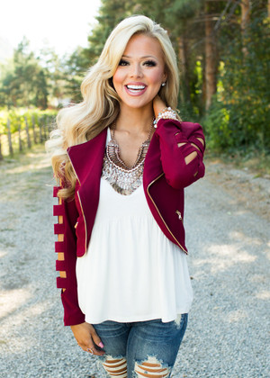 My Style Cutout Jacket Burgundy CLEARANCE