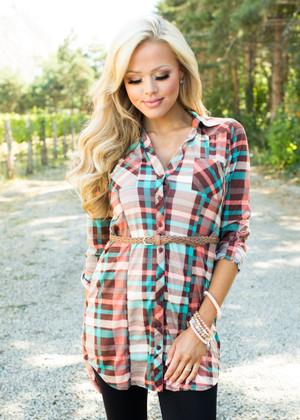 My Heart is Yours Plaid Belted Tunic CLEARANCE