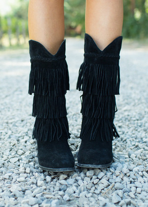 Tall Black Fringed Boots
