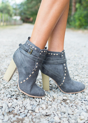 Please Don't Go Heeled Booties Gray
