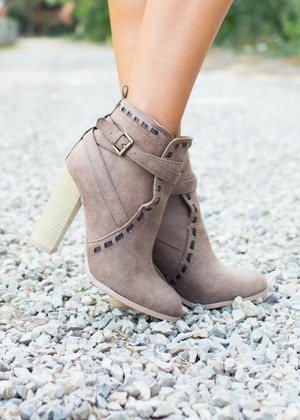 Please Don't Go Heeled Booties Taupe