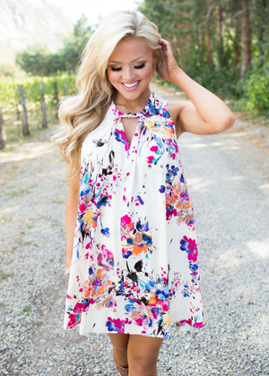 I Won't Lie To You Cream Floral Tank Dress