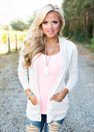 As You Wish Long Sleeve Cardigan Ivory CLEARANCE