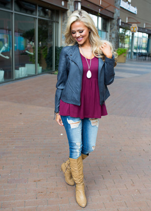 Taking On the World Faux Leather Jacket Gray CLEARANCE