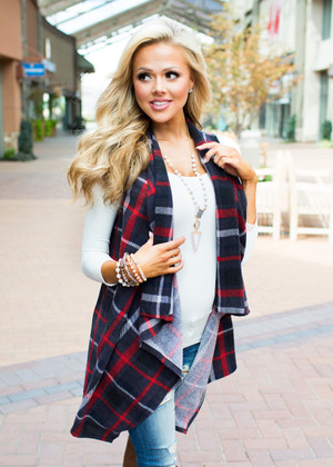 Maybe One Day Plaid Vest Charcoal/Red CLEARANCE
