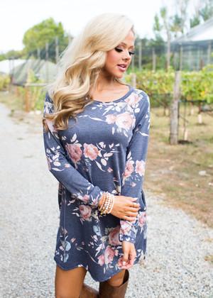 I Was Fine Before I Met You Floral Pocket Dress Navy