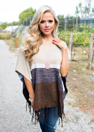 Move On Poncho Brown/Tan CLEARANCE
