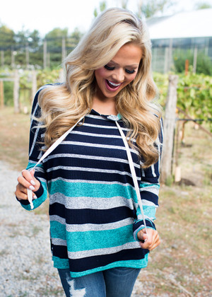 Midnight Drivin' Striped Hoodie Teal/Charcoal CLEARANCE