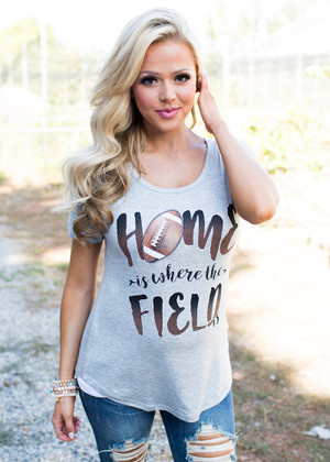 Home Is Where The Field Is Cap Sleeve Top Gray CLEARANCE