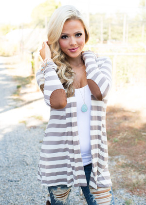 Once In a Lifetime Striped Cardigan Taupe CLEARANCE
