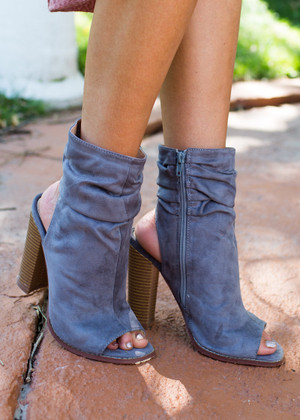 Two Young Hearts Open Toe Heel Booties Gray
