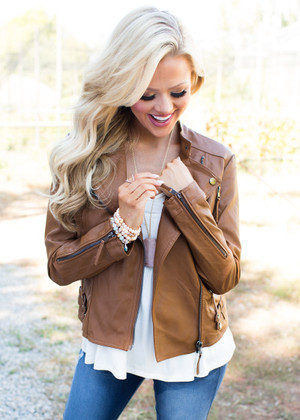 A Long Way Down Leather Jacket Brown