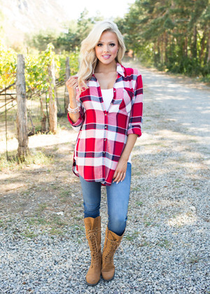 Live While We're Young Plaid Top Red
