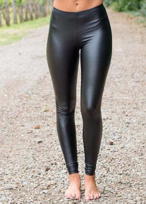 Shiny Black Pleather Leggings