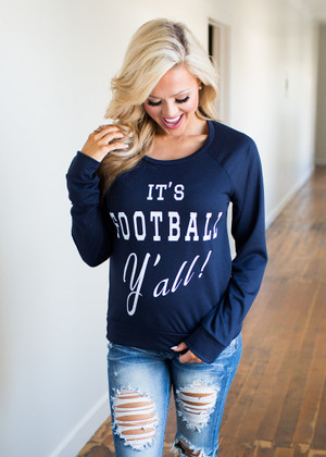 It's Football Y'all Top Navy CLEARANCE