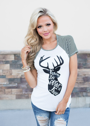 Forever Be Wild and Free Reindeer Top Black/White CLEARANCE