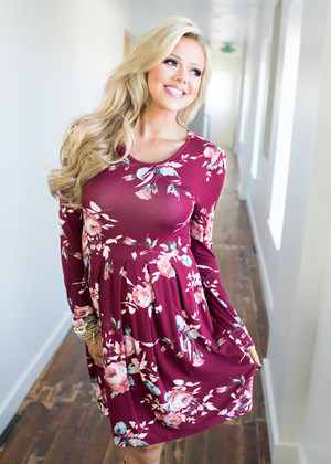 It Began With You Floral Dress Burgundy