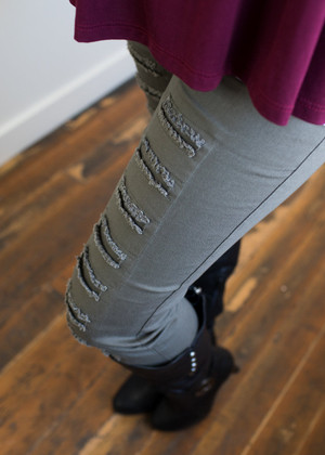 Olive Distressed Jeggings CLEARANCE