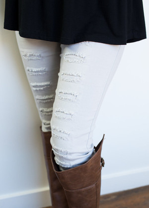 Lt Gray Distressed Jeggings  CLEARANCE