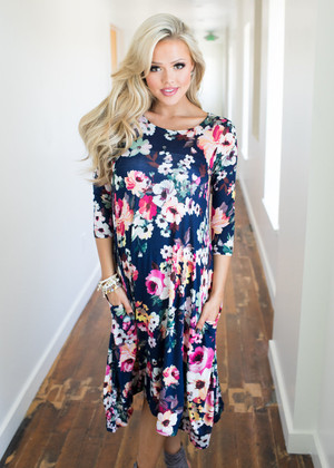 Caught in the Rain Pocket Floral Dress Navy