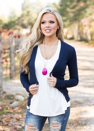 Button Down Snap Cardigan Navy CLEARANCE