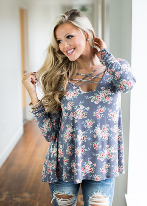 I Want to Be in Your Life Floral Top Gray