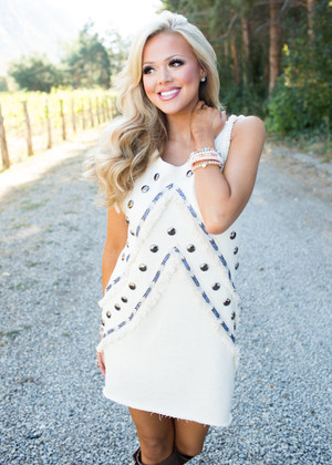 Don't Doubt It Studded Tank Dress Ivory CLEARANCE