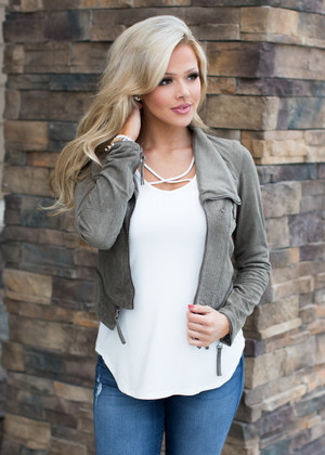 Not Even Trying Suede Crop Zipper Jacket Olive CLEARANCE