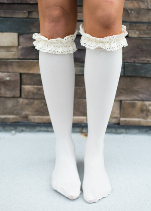 Vanilla Crochet Trim Boot Socks