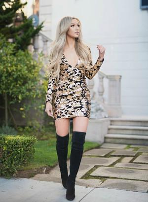 Sequins Floral Dress Black/Gold