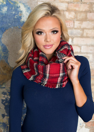 Wrapped In Your Love Plaid and Houndstooth Scarf