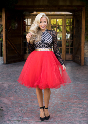Flirty in Red Tulle Skirt CLEARANCE