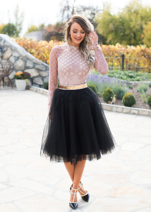 Flirty in Black Tulle Skirt