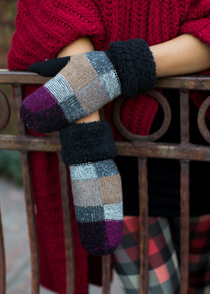 Plaid Checkered Mittens Black CLEARANCE