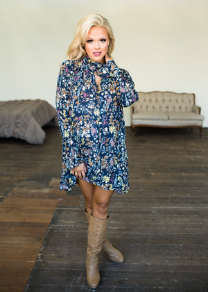 Let Me Take You There Multi Floral Long Sleeve Dress Navy