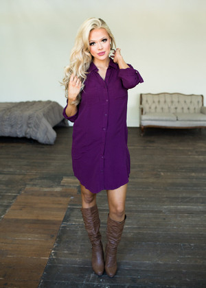 Taking it Slow Button Up Long Sleeve Dress Wine