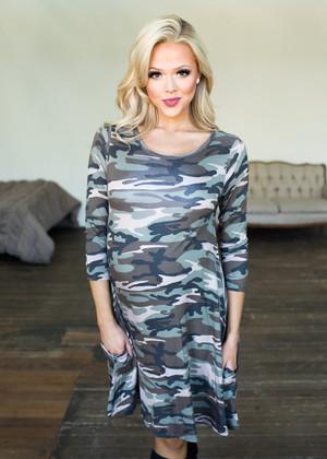 Camo Love 3/4 Sleeve Pocket Dress Olive CLEARANCE
