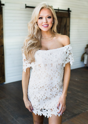 Floral Crochet Off the Shoulder Dress White