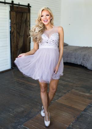 Never Back Down Jewel Tank Dress Mauve CLEARANCE
