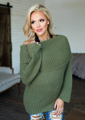 Double The Beauty Oversized Sweater Olive CLEARANCE
