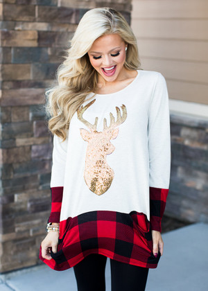 Reindeer and Plaid Pocket Tunic CLEARANCE