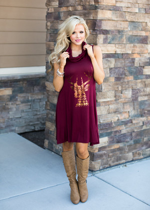 Cowl Neck Aztec Deer Tank Dress Burgundy